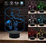 LAMPADA LED personalizzata Cuore e Nomi a batteria Idea regalo San Valentino a batteria + cavo micro USB Decorazione della casa