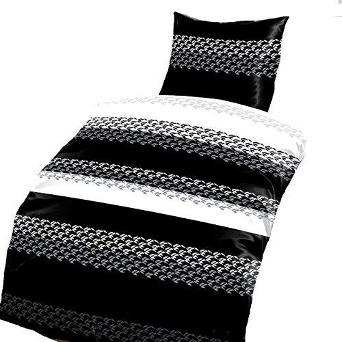 Schöne Bettwäsche Mit Dem Muster Schwarz Weiß Gestreift Auf
