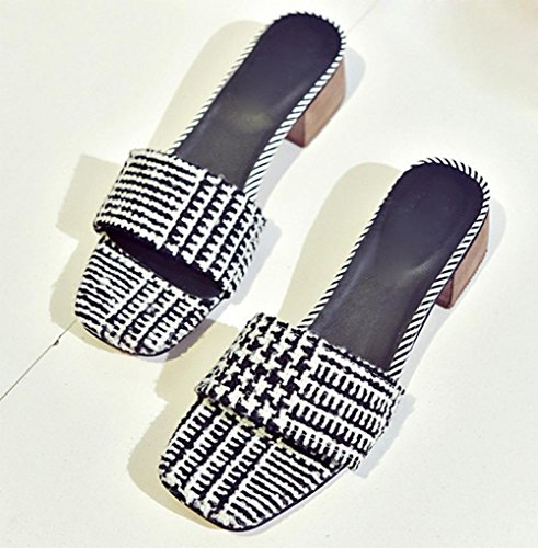 Mme cool pantoufles tête de poisson de la mode mot sandales faites glisser la tête de fête d'été des sandales à talons épais Black
