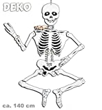 Halloween-Deko-Skelett aus Pappe beweglich, ca. 140 cm, Halloween, Party, Karneval, Mottoparty, Deko