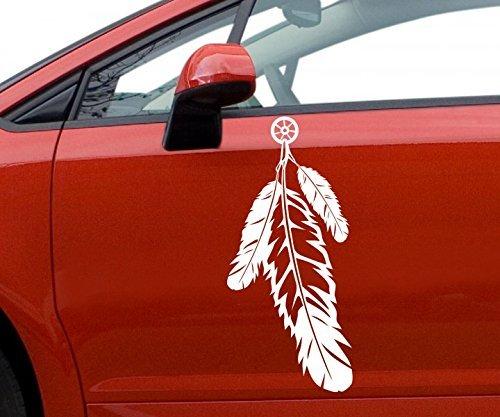 Autoaufkleber Indianer Amerika Feder Schmuck Aufkleber Auto Sticker 5A011, Farbe:Rot glanz;Hohe:40cm (Feder Aufkleber Auto Für)