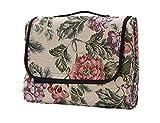 Honeystore Jacquard Yoga Matte Strand Ausflug Blumen Picknickdecke mit wasserabweisender Unterseite Champagner 200*200 CM