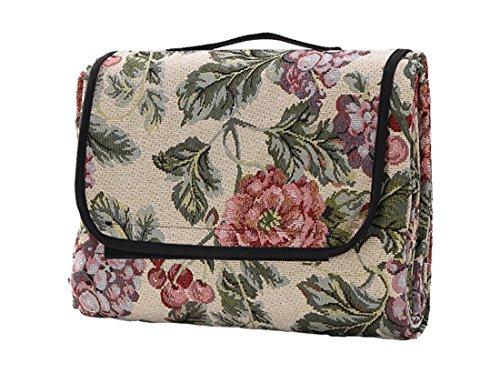 Honeystore Jacquard Yoga Matte Strand Ausflug Blumen Picknickdecke mit wasserabweisender Unterseite Champagner 200*180 CM