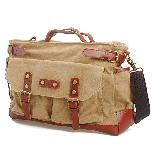 spalla spalla casuale borsa del computer di viaggio uomini borsa di tela borsa Messenger multi-funzione , coffee Khaki