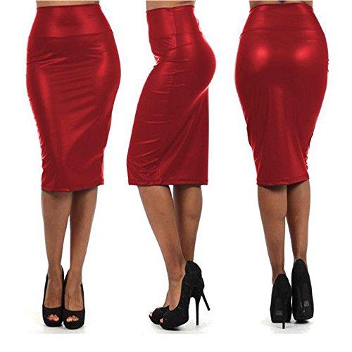 Damen Wetlook Rock Lack Leder Rot Dessous Business Bleistiftrock C-String Gogo S/M -