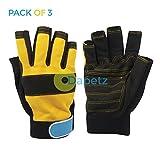 daptez® 3x Fingerlose Mechaniker Handschuhe Medium High Qualität Langlebig für Automotive Einsatz