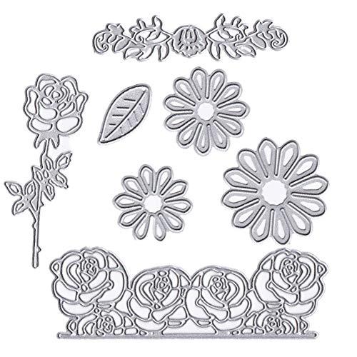 7Pack Blume Metall Formen Floral Daisy Roses Blätter Embossing Schablone für DIY-Geschenk Grußkarten zu Scrapbooking Craft