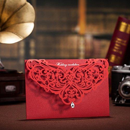 Wishmade 50x laser Cut wedding biglietti di invito per feste di fidanzamento elegante con ciondolo pietra nuziale doccia inviti CW3129/CW3108 red