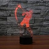 Veilleuse Cadeau De Vacances Décor De Chambre À Coucher Usb Sommeil Lumière 3D Lacrosse Joueur...