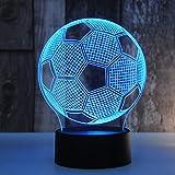 Homeofying 3D Illusion Palla da Calcio Touch Control Lampada 7-Colore USB Notte Luce Decorazione della Camera da Letto Transparent