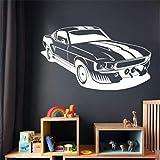 Geiqianjiumai Muscle Car Art Wandaufkleber Aufkleber Zitate Abziehbilder Wohnkultur Wohnzimmer Dekoratives Wandbild Weiß 100 x 58cm