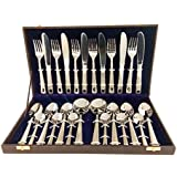 VIP Stainless Steel Dotted Design Cutlery Set of Spoons and Forks (Silver) - Set of 26 Pcs with 1 Box