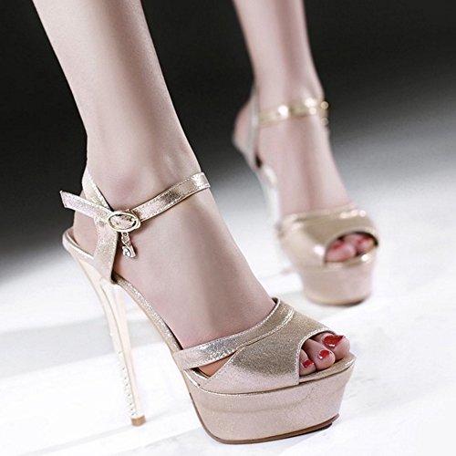 TAOFFEN Elegant Femmes Aiguille Sandales Talons Hauts Plateforme Peep Toe Chaussures De Mariage Or