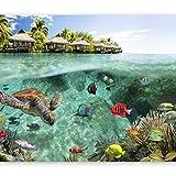 Vlies Fototapete 200x140 cm ! Top - Tapete - Wandbilder XXL - Wandbild - Bild - Fototapeten - Tapeten - Wandtapete - Wand - Natur Landschaft Meer Fish Himmel tropischen Insel Sommer c-A-0027-a-a
