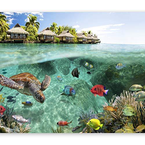 murando – Papier peint intissé – 350x256 cm – Trompe l oeil - Tableaux muraux – Déco – XXL– nature paysage mer poisson île tropicale été c-A-0027-a-a