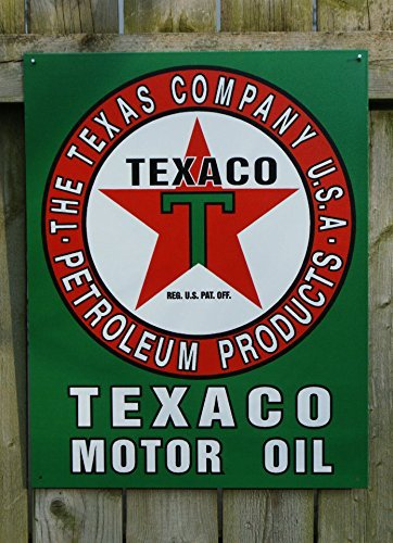 Texaco Motor Oil Gasoline Logo Retro Vintage Tin Sign by Leapin Lizard (Retro-lizard)