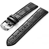KS 20mm Black PU Leather Mens Replacement Watch Band Straps WB2042