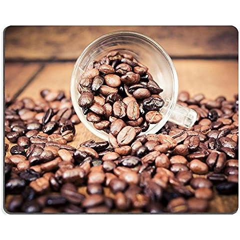 Liili Mouse Pad-Tappetino per Mouse in gomma naturale con immagine di chicchi di caffè tostati ID 32507910 su tavolo di legno con filtro, stile vintage