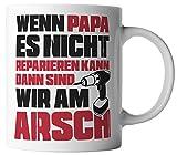 vanVerden Tasse Papa Reparieren Arsch Vatertag Dad Geschenk inkl. Geschenkkarte, Farbe:Weiß/Rot
