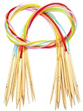 KAIMENG - Juego de agujas de tejer circulares de bambú de doble punta, tamaño 3 a 15