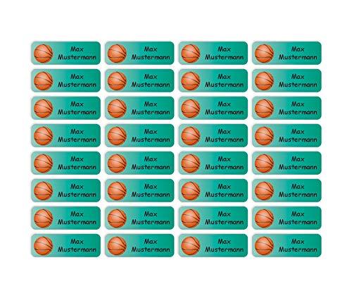 Sunnywall® Namensaufkleber Namen Sticker Aufkleber Sticker 4,8x1,6cm | 60 Stück für Kinder Schule und Kindergarten 38 Hintergründe zur Auswahl (04 Basketball) -