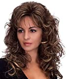 AIYL Perruque Synthétique Dentelle Cheveux Bouclés Bruns Cheveux Synthétiques Perruques pour Femmes Perruque Courte Perruque Dentelle Ondulée,Brown