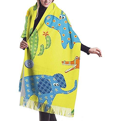 Elaine-Shop Imitate Cashmere Winter Schal Pashmina Schal Wraps Blanket Schals Elegant Wrap Für Frauen Jungle Animal Monkey Flaming Elephant