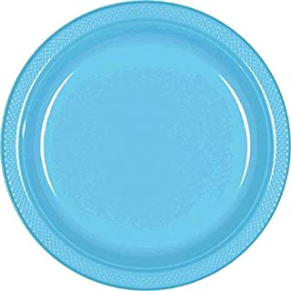amscan International Lot de 20 Assiettes en Plastique Bleu 17,7 cm