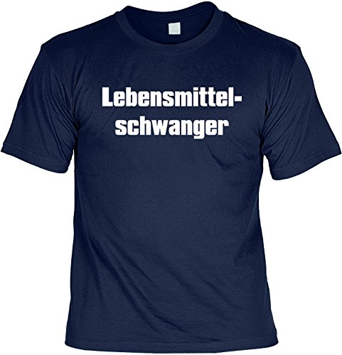 Witziges Spaß-Shirt + gratis Fun-Urkunde: LEBENSMITTELSCHWANGER Navyblau