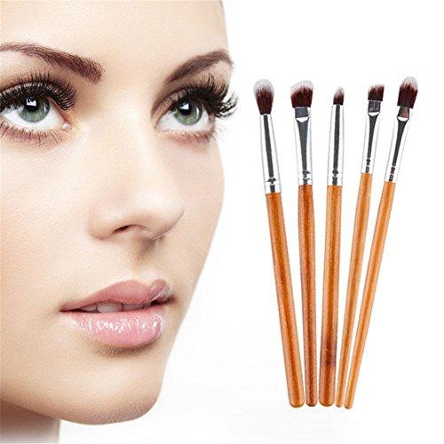 chendongdong 5pcs brosse sourcils en bambou poignée sourcils pinceau brosse ensemble