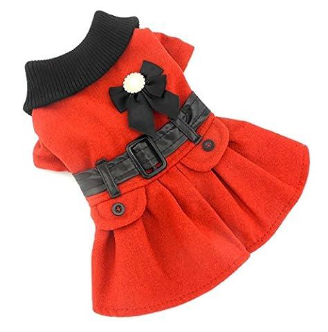 Zunea Princesse Petit Chiot Animal domestique en laine Robe Manteau Veste Combinaison Hiver chaud col en tricot Chihuahua par temps froid Vêtements Rouge