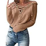 MEIbax Damen schnüren Sich sexy hohe Taille Casual Knopf Langarm Strick Jumper Bluse T-Shirt Tops Sweatshirt Pullover