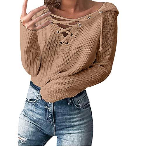 Vovotrade◄ ms. 710 maglione, maglione allentato casuale allentato casuale delle donne in metallo anello in pizzo top spesso dalian cappello maglione con coulisse