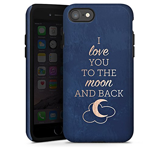 Apple iPhone X Silikon Hülle Case Schutzhülle Sprüche Moon I Love You Love Tough Case glänzend