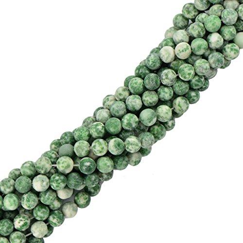 MagiDeal 8mm Perline Forma Rotando Cabochon Matte Pietra Preziosa Verde Giada Gioielli Fai Da Te 15 Trefolo