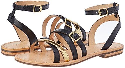 Womens D Sozy B Ankle Strap Sandals, Black/Gold Geox