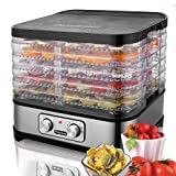 Meykey Dörrautomat mit Temperaturregler, Dörrgerät für Lebensmittel, Obst- Fleisch- Früchte-Trockner, Dehydrator, BPA-frei, 7 Etagen