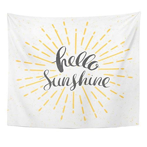 VaryHome Tapisserie Gelb Burst Hello Sunshine mit Vintage Sunburst und Schriftzug Sun Line Home Decor Wandbehang für Wohnzimmer Schlafzimmer Wohnheim 50
