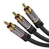 KabelDirekt - Stereo Cinch Audio Video Kabel - 2m - (3 Cinch zu 3 Cinch, RCA-Kabel) - PRO Series