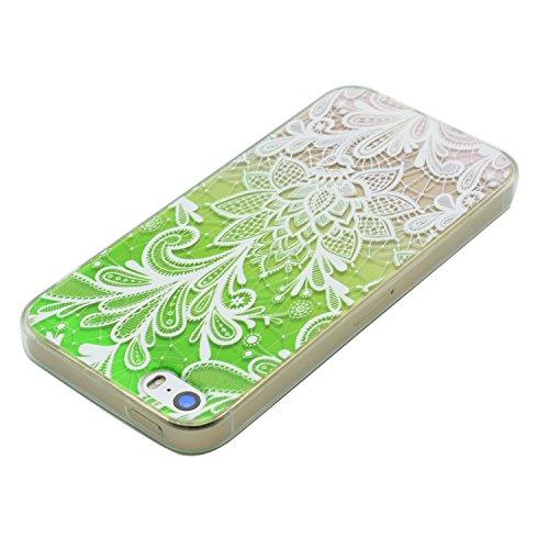 iPhone 5 Hülle, E-Lush Beliebte Lotus Muster für Apple iPhone 5 5S SE Telefonkasten TPU Silikon Rand Acryl Rückseite Abdeckung Handyhülle Clear Transparent Schutzhülle Weiche Flexibel Handytasche Durc Grün Blume
