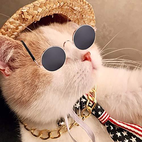 T.boys Hunde Sonnenbrille Verstellbarer Riemen für UV-Sonnenbrillen mit Haustier Hundekrawatte und Sun Hat Strand Stroh Hüte + Hundehalsband Hundehalskette