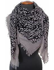 Nella-Mode Traumhaft feines & weiches Wolltuch Schal mit kurzen Fransen im Maxi-Format (ca. 115x115 cm) Leo-Design in schwarz & grau, Tuch Schultertuch aus 100% Wolle