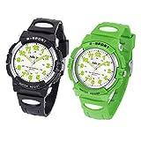 Juboos Kinderuhr Jungen Mädchen Analog Quartz Uhr mit Armbanduhr Gummi Wasserdicht Outdoor Sports Uhren-JU-001 (Schwarz/Grün)