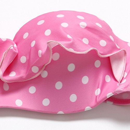 PU&PU Frauen Beach Halter Bandeau Bikinis Zwei Stücke Set Badeanzug Flouncing Spitze Rosa Tupfen Underwire Gepolsterte BH Bademode Pink