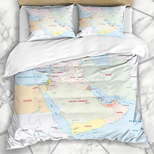 Soefipok Bettwäschesets Oman Rot Irak Naher Osten Karte Bahrain Syrien Ägypten Iran Libanon Israel Design Libyen Mikrofaserbettwäsche mit 2 Kissenbezügen - Karte Bahrain Von