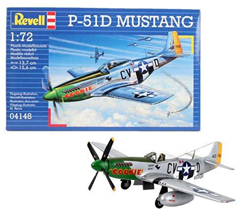 Revell Modellbausatz Flugzeug 1:72 - P-51D Mustang im Maßstab 1:72, Level 3, originalgetreue Nachbildung mit vielen Details, 04148 (Model Kits Revell 1 144)