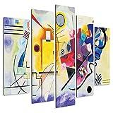Giallobus - Quadro multipannello 5 Pezzi 140 x 100 - Kandinsky - Giallo Rosso e Blu - Stampa su Legno MDF - Pronto da Appendere - 140x100 cm