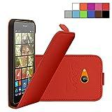 COOVY® Cover für Nokia Lumia 630/635 Slim Flip Case Tasche Schutz Hülle Etui + Displayschutzfolie | Farbe Rot