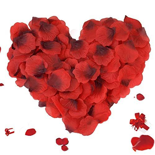 3000 Stück Rosenblätter, ASANMU Rosenblüten Rosenblätter Rosen Blätter Blüten Kunstblumen Seidenblumen für Hochzeit Deko, Valentinstag, Taufe, Geburtstag Party Dekoration, Romantische Atmosphäre - Rot