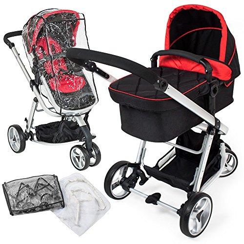 *TecTake 3 in 1 Kinderwagen Kombikinderwagen Buggy Babyjogger Reisebuggy Sportwagen Kids -diverse Farben- (Rot/Schwarz)*